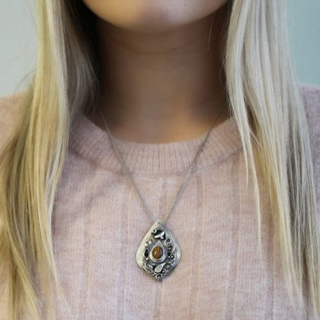 HAnd Made Fine Silver pendant with Tiger Eye Gemstone
